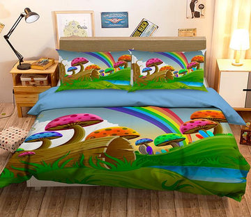 3D Rainbow Mushroom 069 Bed Pillowcases Quilt Wallpaper AJ Wallpaper