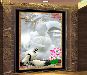 3D White Jade Peach Crane 1643 Wallpaper AJ Wallpaper