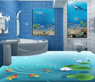 3D Pond 017 Floor Mural Wallpaper AJ Wallpaper 2