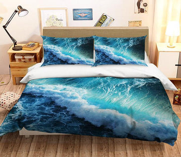 3D Ferocious Waves 199 Bed Pillowcases Quilt