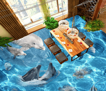 3D Lively Dolphins 018 Floor Mural Wallpaper AJ Wallpaper 2