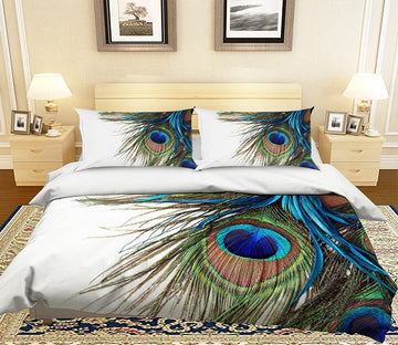 3D Peacock Feather 013 Bed Pillowcases Quilt
