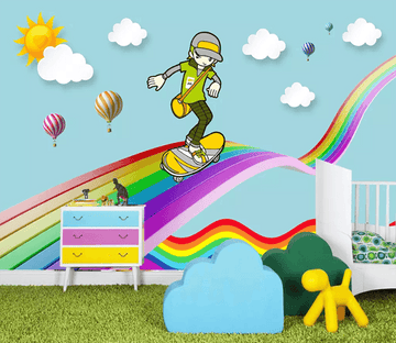 3D Rainbow Skateboard 1243 Wallpaper AJ Wallpaper 2