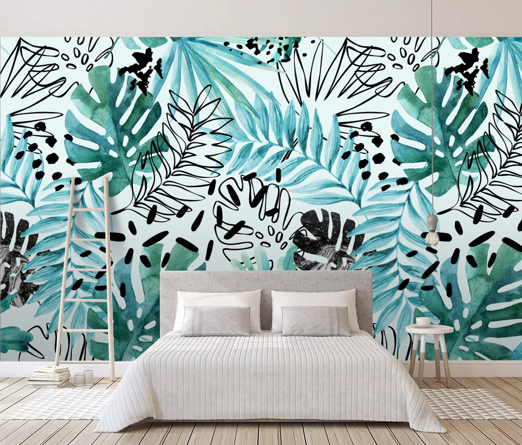 3D Painted Leaves WC032 Wall Murals