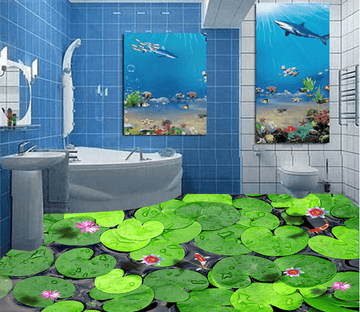 3D Lotus Leaf 048 Floor Mural Wallpaper AJ Wallpaper 2