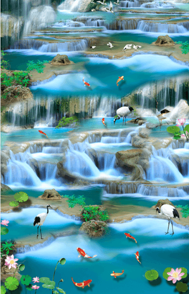 3D Flowing River Floor Mural - AJ Walls - 2