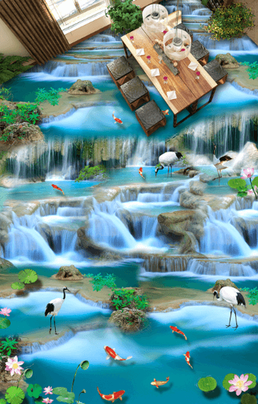 3D Flowing River Floor Mural - AJ Walls - 3