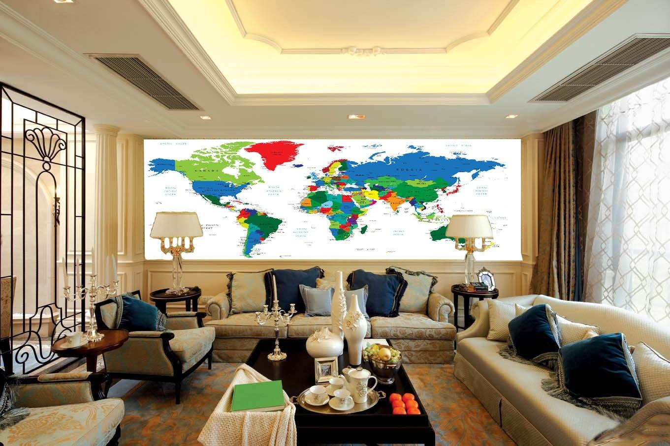 Colored World Map Wallpaper AJ Wallpaper