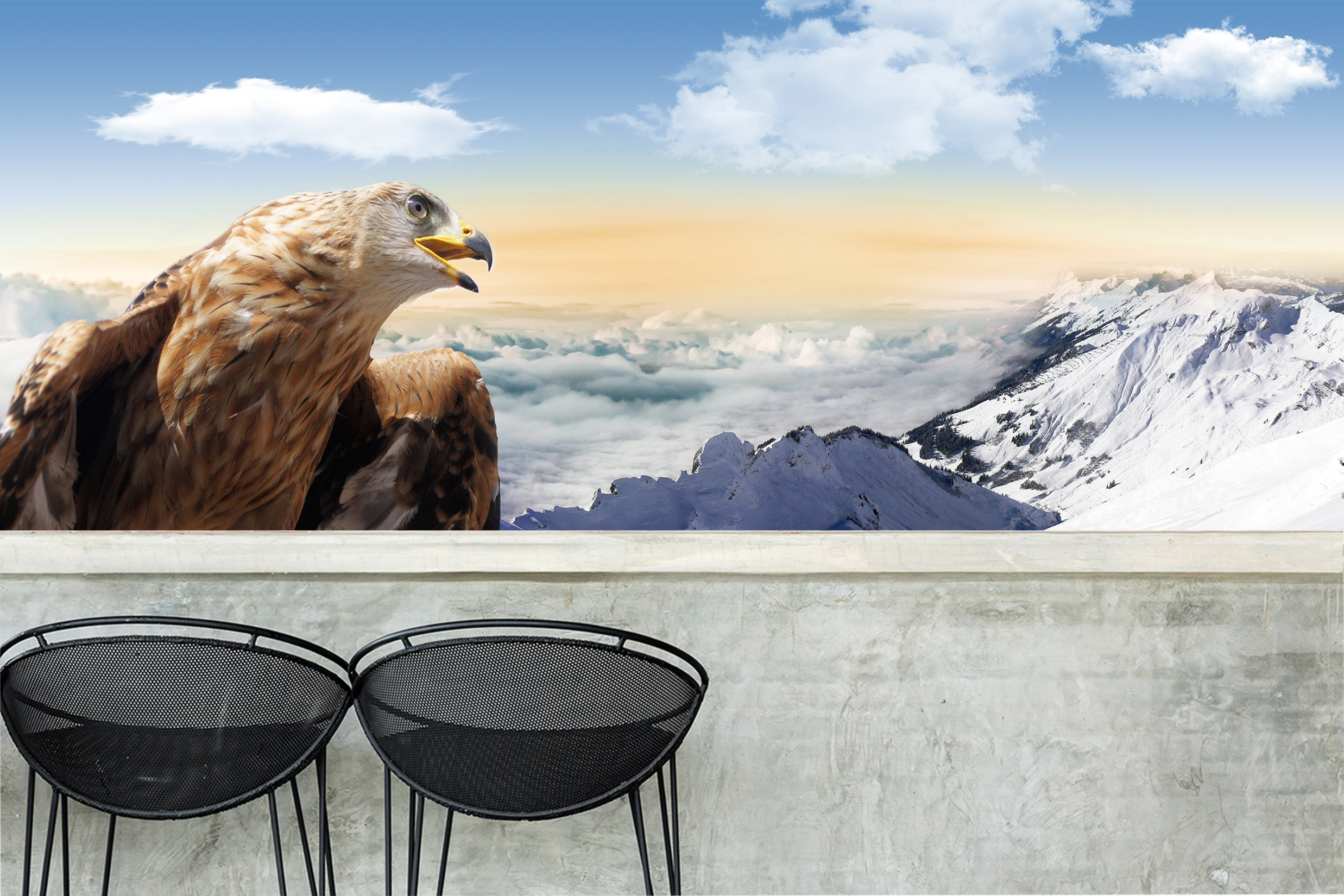 3D Eagle Mouth 043 Wall Murals