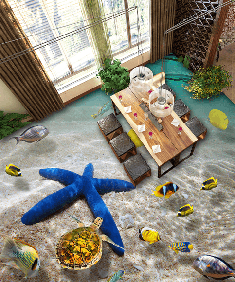 3D Blue Sea Star Floor Mural - AJ Walls - 3