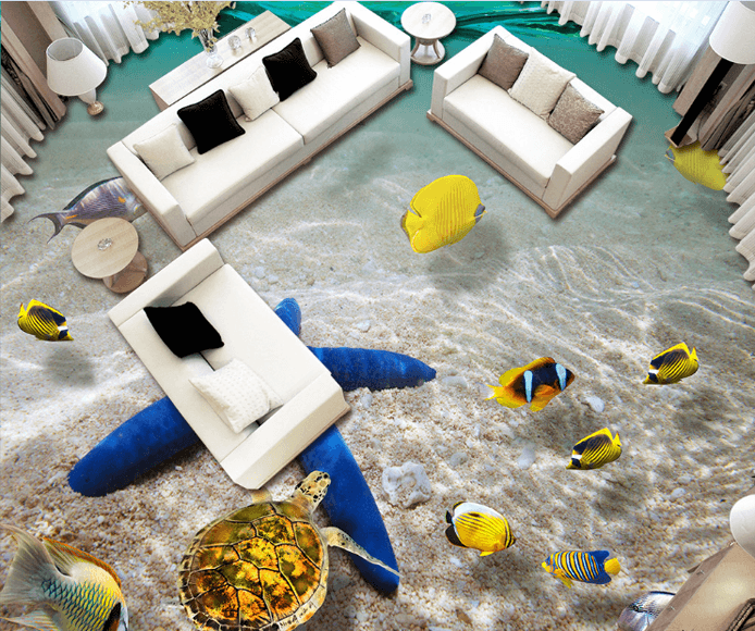 3D Blue Sea Star Floor Mural - AJ Walls - 2