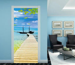 3D blue sky seagull sea plank bridge door mural