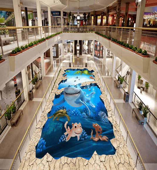 3D Lovely Fishes Floor Mural Wallpaper AJ Wallpaper 2