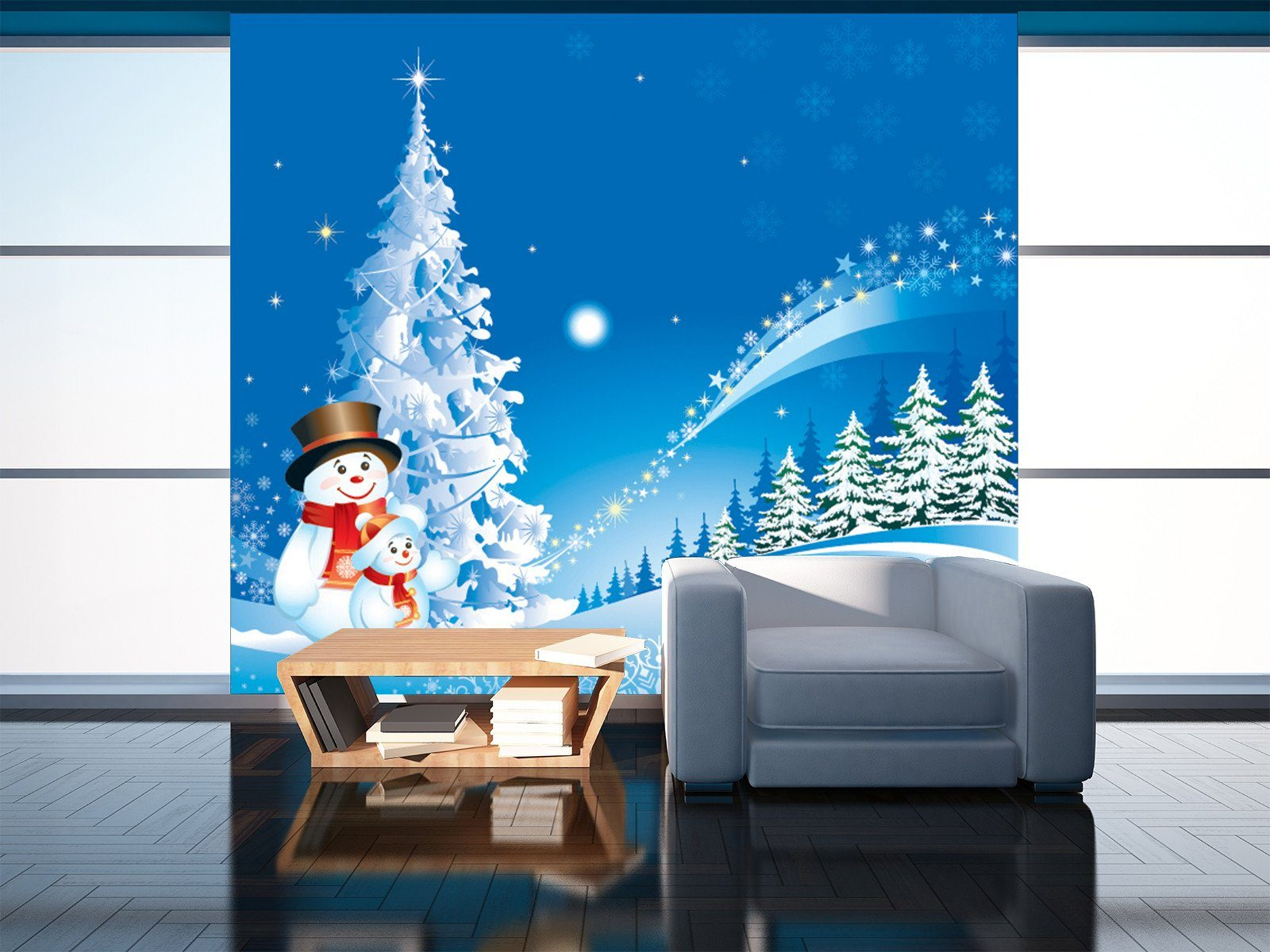 3D Christmas Snowman And Winter Night Wallpaper AJ Wallpaper