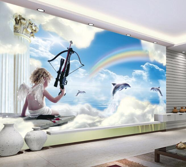 3D Angel And Doplhin Blue Sky Rainbow - AJ Walls - 2