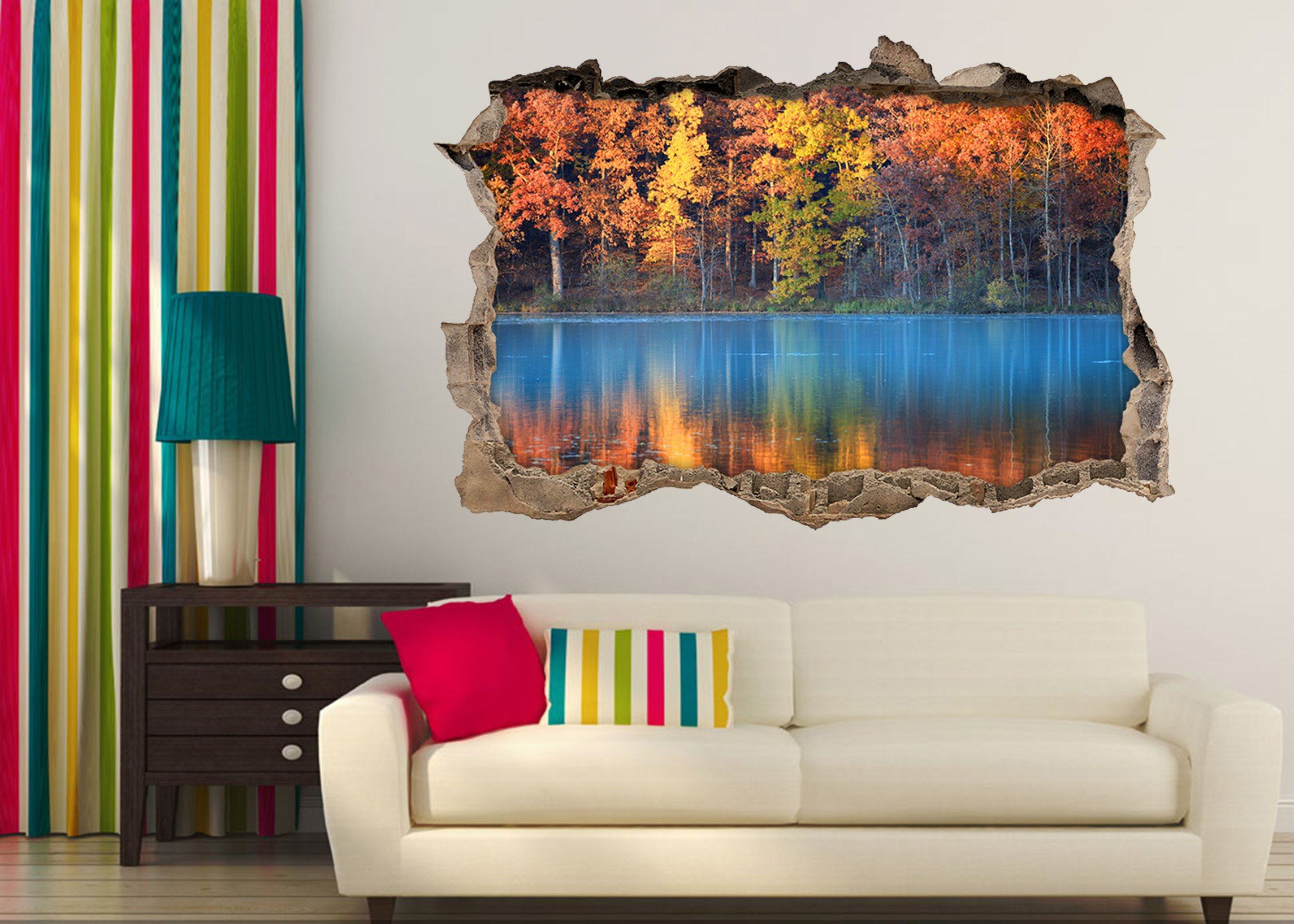 3D Colorful Forest Lake 045 Broken Wall Murals