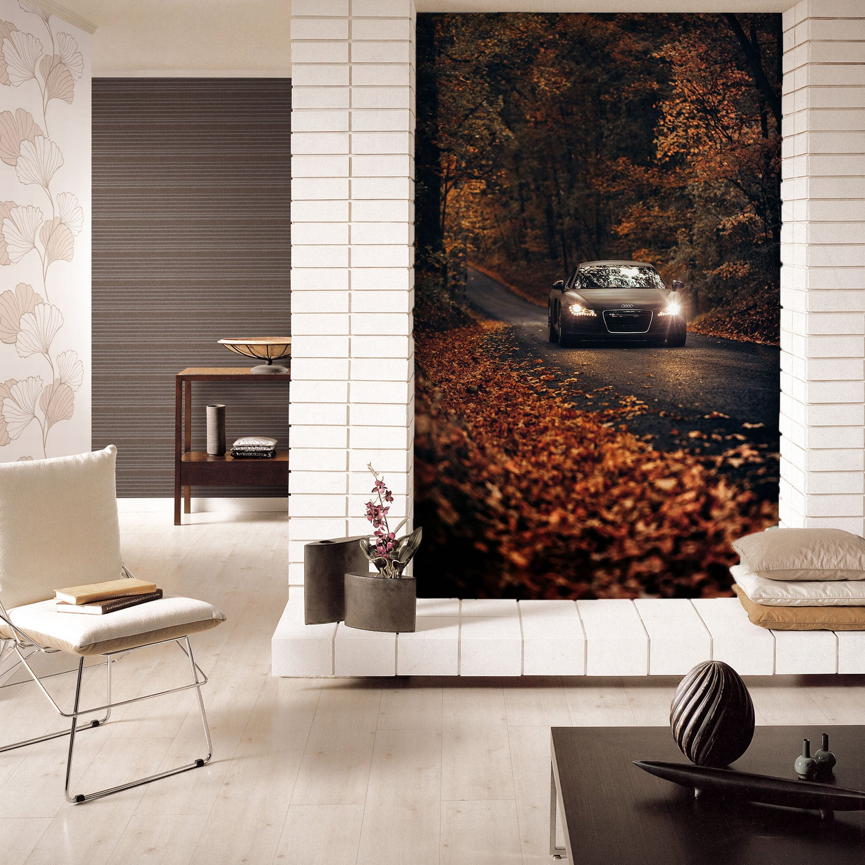 3D Autumn Maple Car 442 Vehicle Wall Murals
