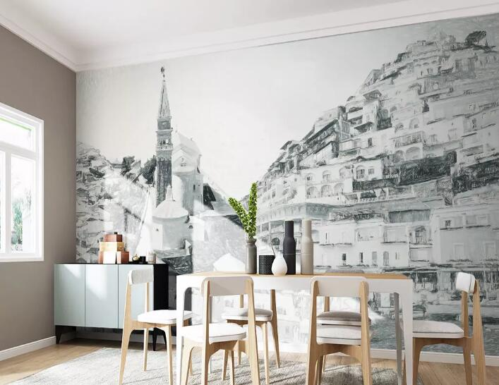 3D Grey Street 746 Wall Murals