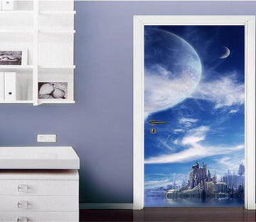 3D  clouds and sea view door mural