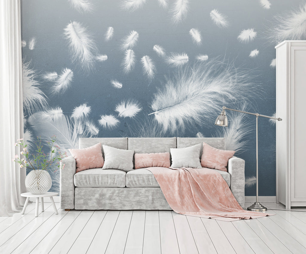 3D White Feather WC018 Wall Murals