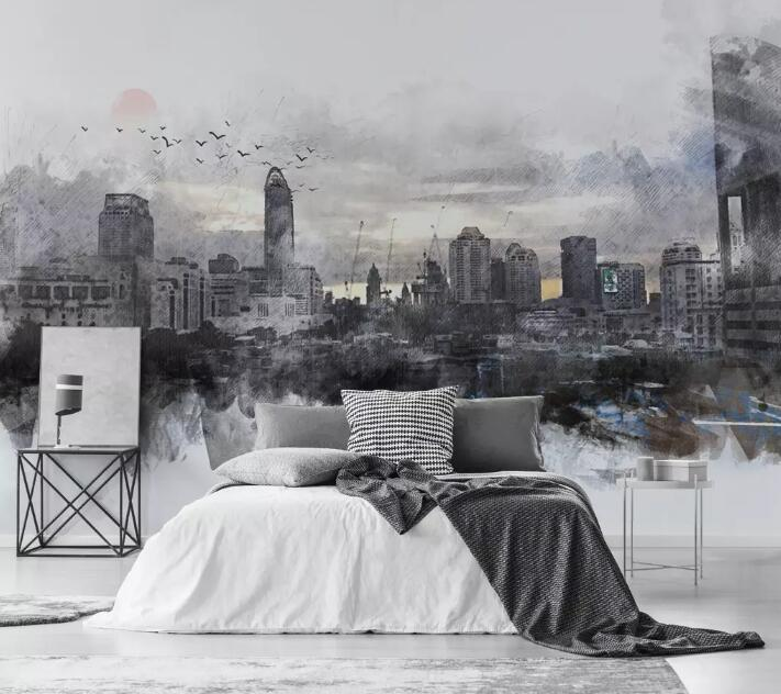 3D Black City 1047 Wall Murals Wallpaper AJ Wallpaper 2