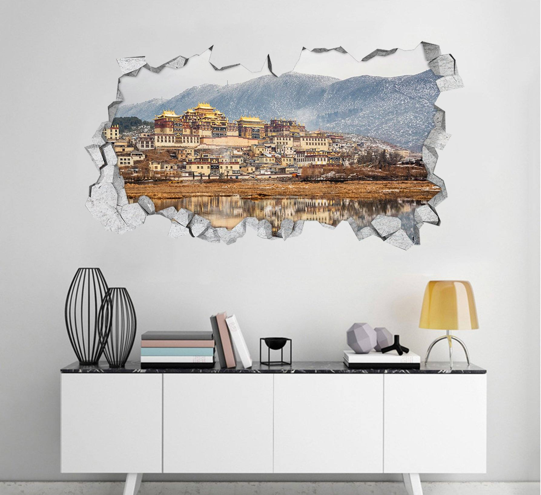 3D Snowing Mountain Town 107 Broken Wall Murals Wallpaper AJ Wallpaper