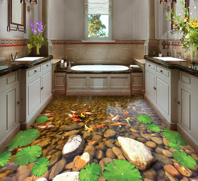 3D Golden Fishes Floor Mural - AJ Walls - 2