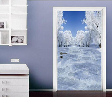 3D Forest Snow Scene Door Mural Wallpaper AJ Wallpaper