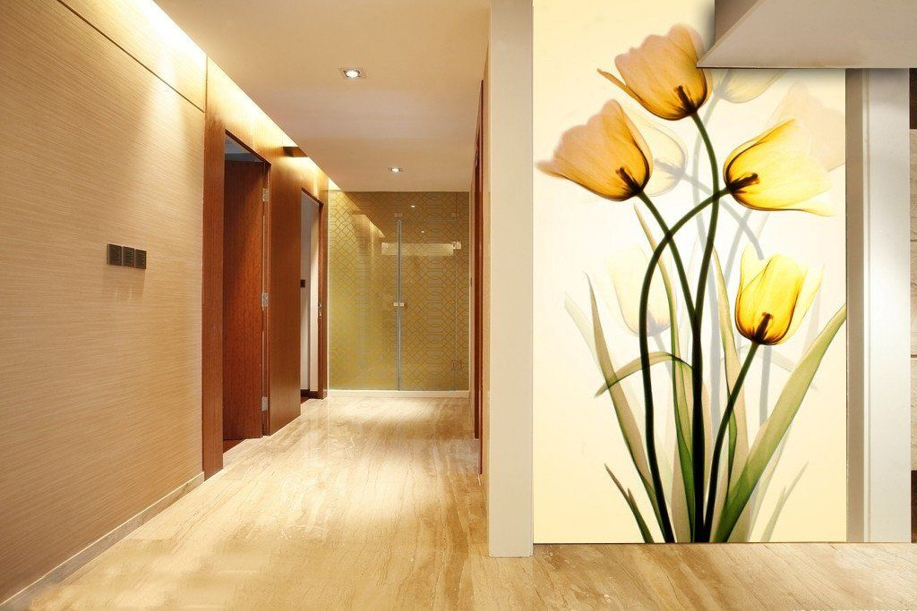 3D Modern yellow floral Wallpaper AJ Wallpaper 1