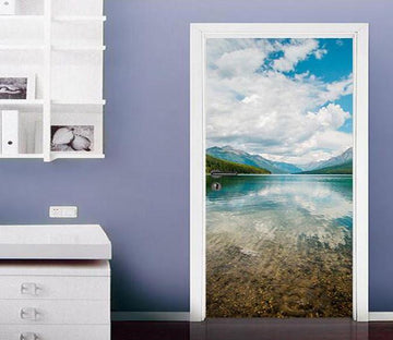 3D clear sea white clouds door mural Wallpaper AJ Wallpaper