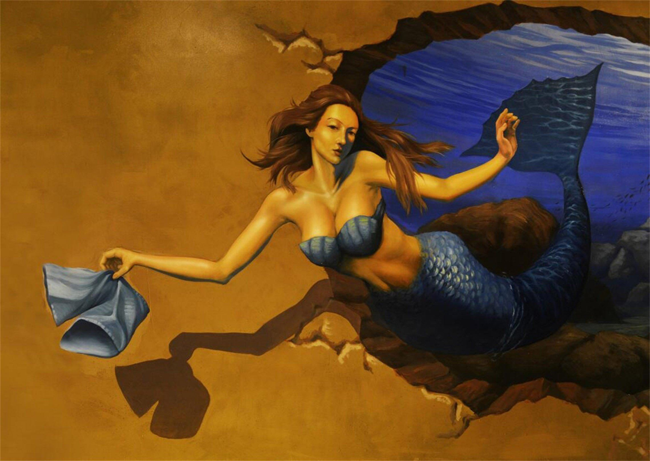 3D Elegant Mermaid 403 Garage Door Mural Wallpaper AJ Wallpaper