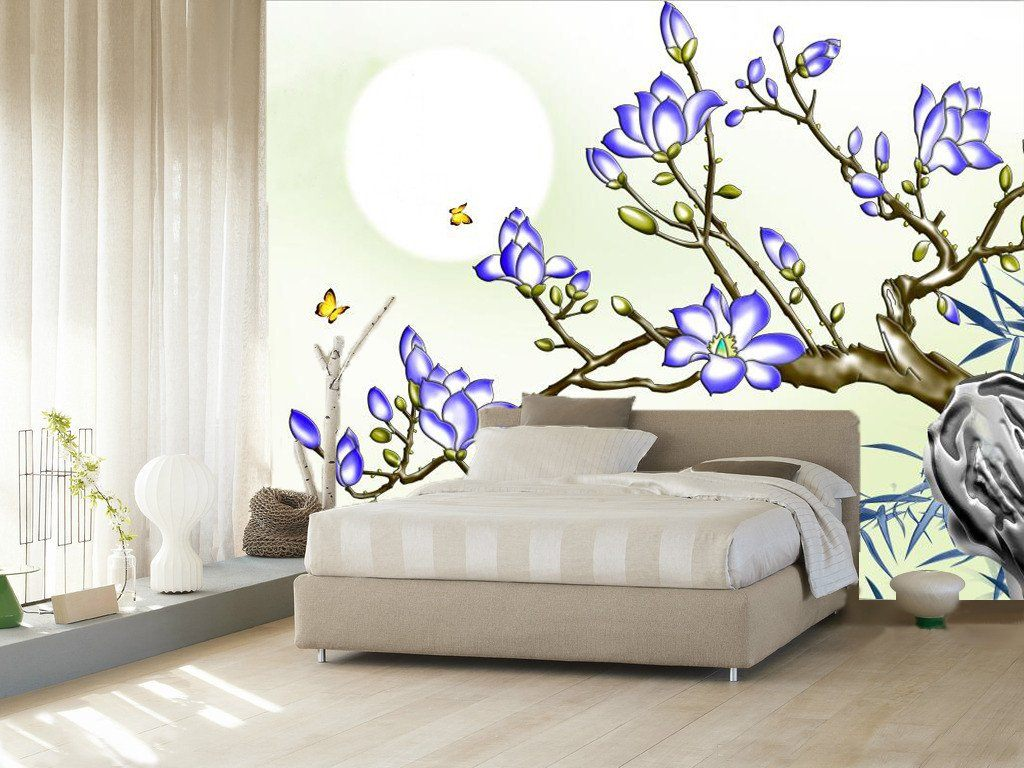 Blue Blossoming Flower And Butterfly 24 Wallpaper AJ Wallpaper 1