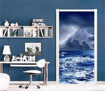 3D  thunder night door sea mural