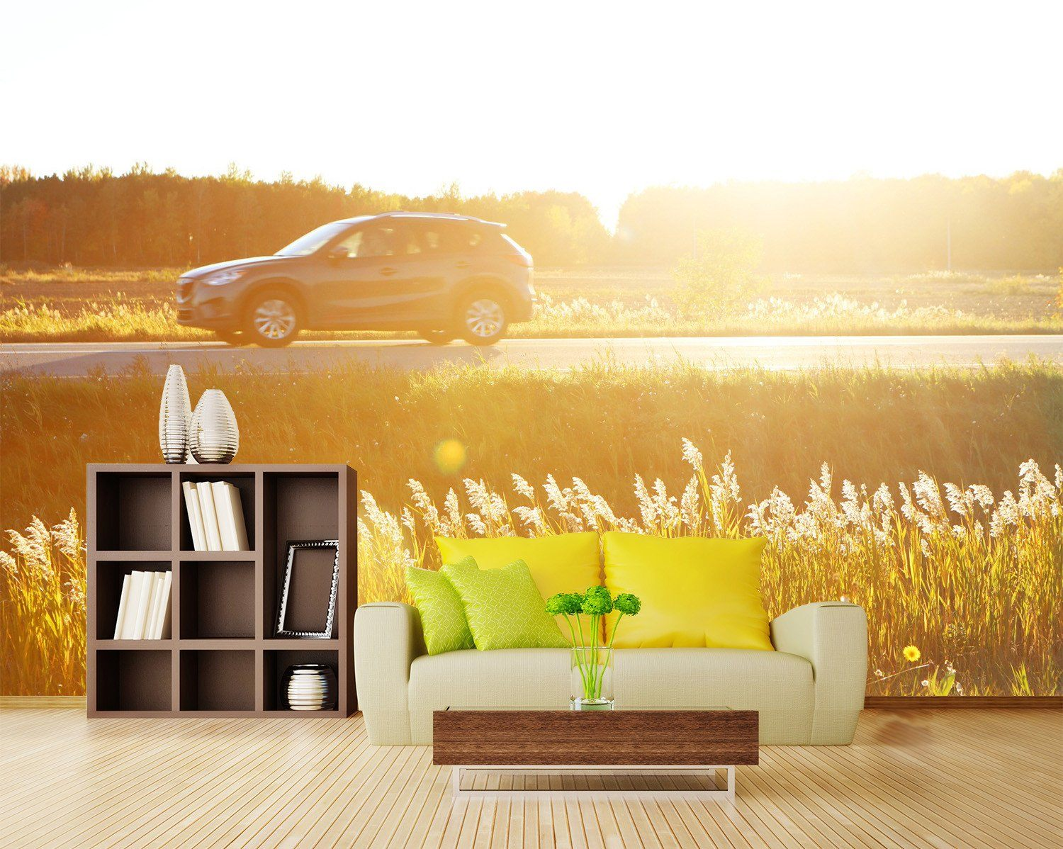 3D Wild Sunshine Running Car 22 Wallpaper AJ Wallpaper 2