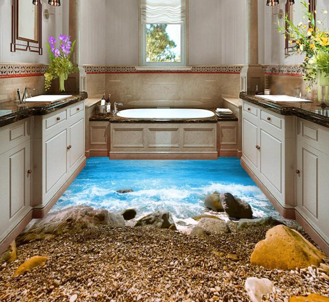 3D Beautiful Coast Floor Mural - AJ Walls - 3