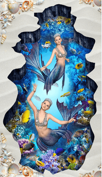 3D Graceful Mermaids Floor Mural - AJ Walls - 2