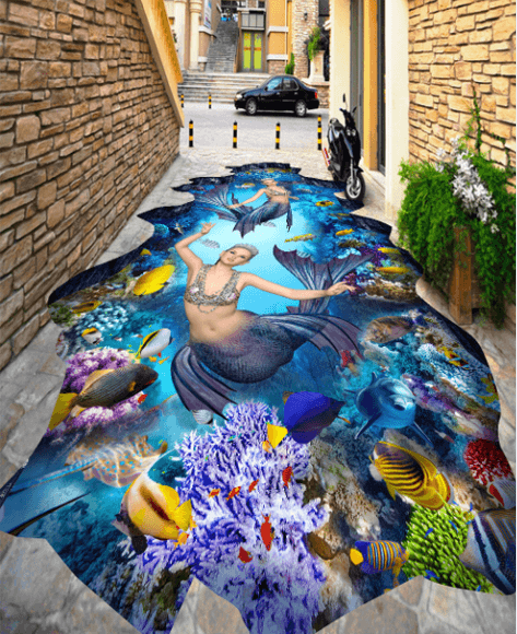 3D Graceful Mermaids Floor Mural - AJ Walls - 3