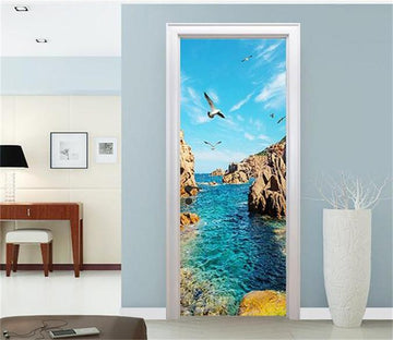 3D  water and seagulls sea door mural
