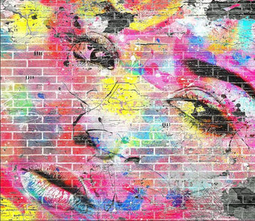 3D Graffiti Girl Colorful 045 Wallpaper AJ Wallpaper