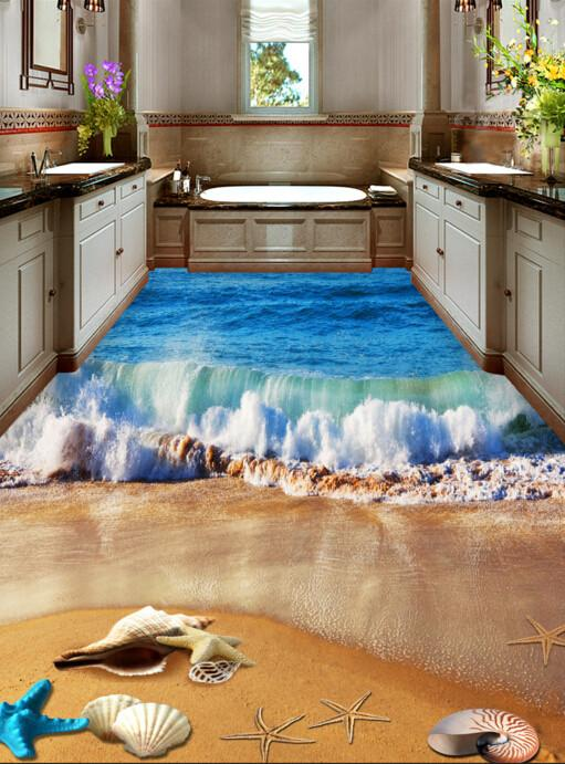 3D Beach Beautiful Wave Floor Mural - AJ Walls - 3