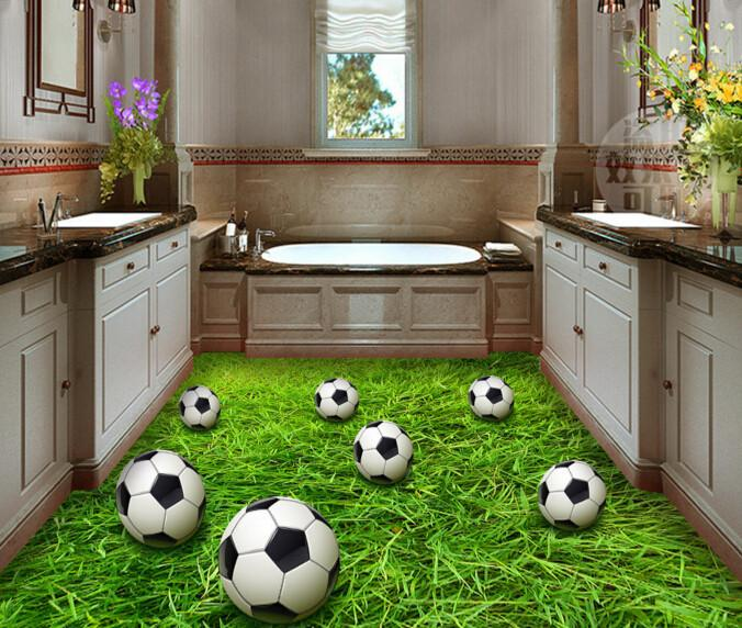3D Grassland Footballs Floor Mural Wallpaper AJ Wallpaper 2