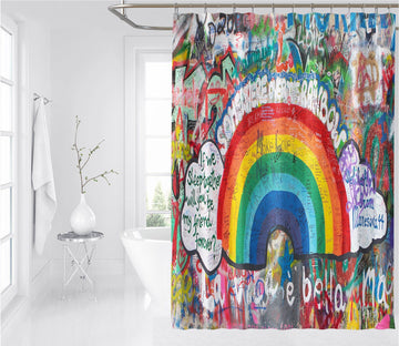 3D Graffiti Rainbow 1 Shower Curtain