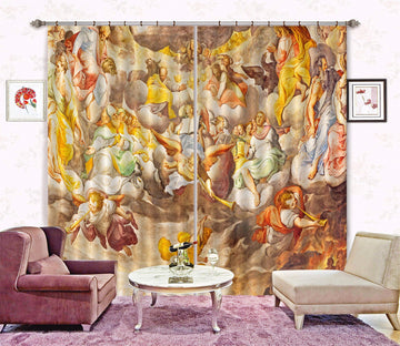 3D Blowing Horn Reading 050 Curtains Drapes Curtains AJ Creativity Home