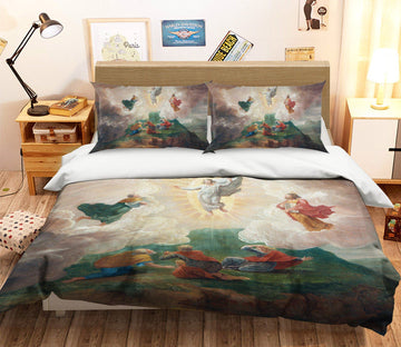 3D Praying Light 002 Bed Pillowcases Quilt Quiet Covers AJ Creativity Home