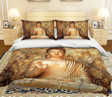 3D Buddha Meditating 009 Bed Pillowcases Quilt Quiet Covers AJ Creativity Home