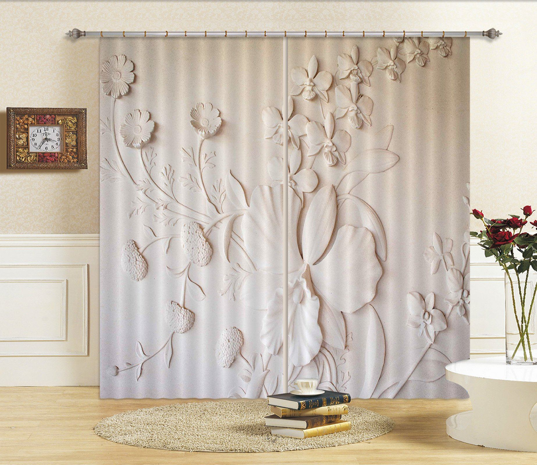 3D Blooming Llily 067 Curtains Drapes Curtains AJ Creativity Home