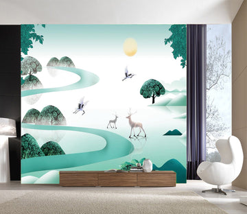 3D Deer Forest 053 Wall Murals