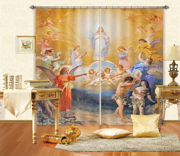 3D Angel Light Baby 019 Curtains Drapes Curtains AJ Creativity Home