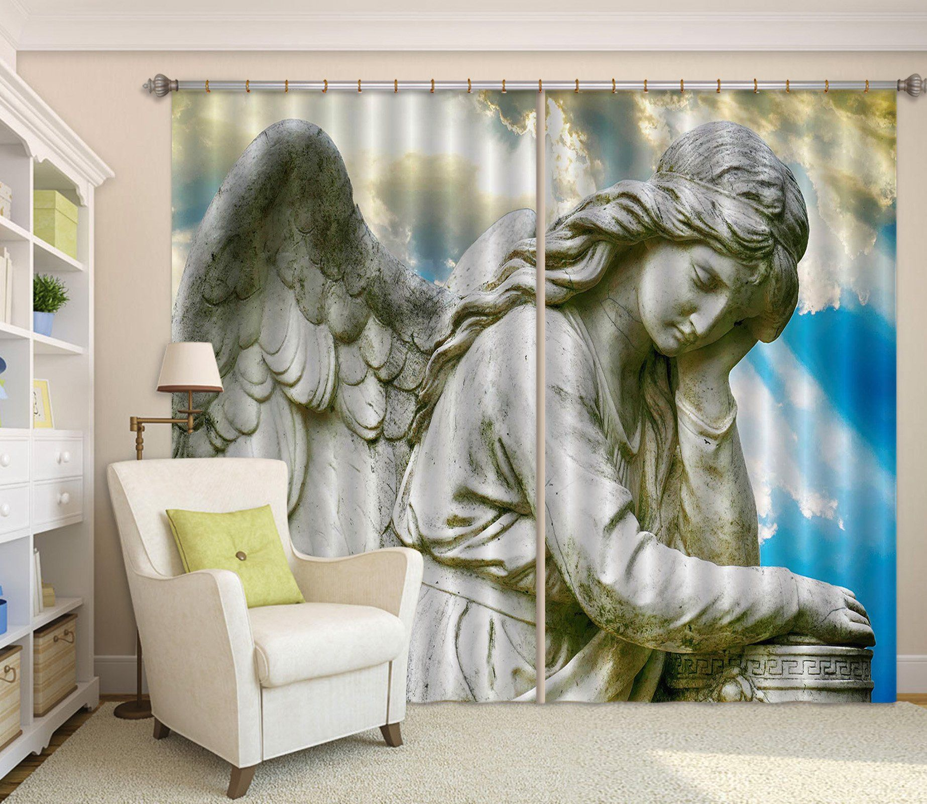 3D Angel Meditation 063 Curtains Drapes Curtains AJ Creativity Home