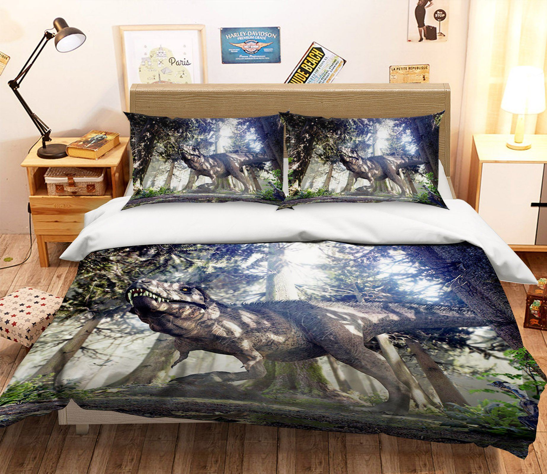 3D Woods Dinosaur 080 Bed Pillowcases Quilt Wallpaper AJ Wallpaper